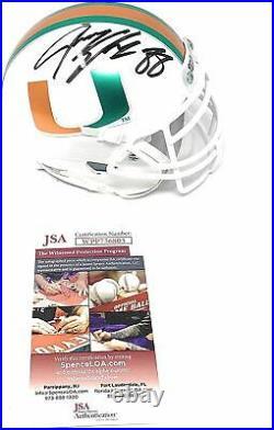 Jermey Shockey Miami Hurricanes Signed Autograph Mini Helmet Schutt White Chrome