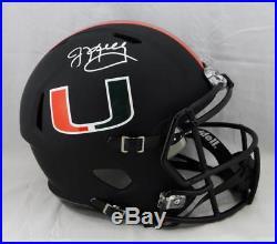Jim Kelly Autographed Miami Hurricanes Black Speed F/S Helmet JSA W Auth Silv