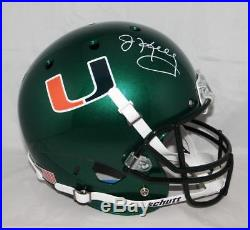 Jim Kelly Autographed Miami Hurricanes Green Schutt F/S Helmet JSA W Auth Whi