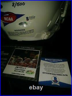 Jim Kelly Autographed Replica Helmet Miami Hurricanes buffalo bills 8/500