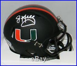 Jim Kelly Autographed Signed Miami Hurricanes Black Speed Mini Helmet Beckett