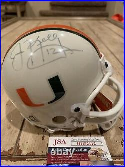 Jim Kelly Autographed/Signed Mini Helmet JSA COA Miami Hurricanes Bills
