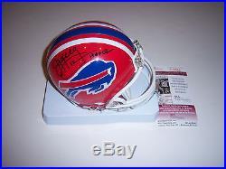 Jim Kelly Buffalo Bills, Hof 02, Miami Hurricanes Jsa/coa Signed Mini Helmet