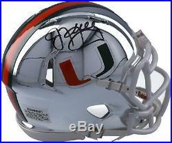 Jim Kelly Miami Hurricanes Autographed Riddell Chrome Speed Mini Helmet