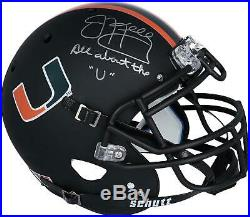 Jim Kelly Miami Hurricanes Signed Black Matte Helmet & All About the U Insc