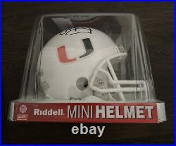 Jim Kelly Miami Hurricanes Signed Mini Helmet Fanatics Sticker Coa Ncaa Football