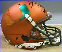 Jim Kelly Signed Miami Hurricanes Full-Size Matte Orange Helmet Beckett COA