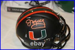 Jim Kelly Signed Miami Hurricanes Matte Black Speed Mini Helmet Jsa Coa