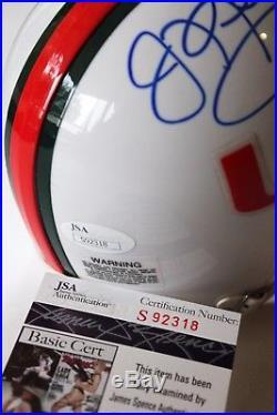 Jim Kelly Signed Miami Hurricanes Mini Helmet Buffalo Bills Hof NFL Um +jsa Coa
