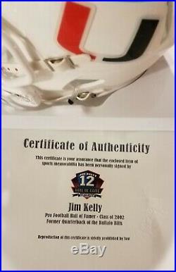 Jim Kelly Signed Mini Miami Hurricanes Helmet With His COA