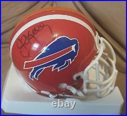 Jim Kelly Signed Riddell Custom Buffalo Bills Miami Hurricanes Mini Helmet SGC