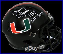 Jimmy Johnson Signed Miami Hurricanes Black Full Size Speed Helmet Beckett