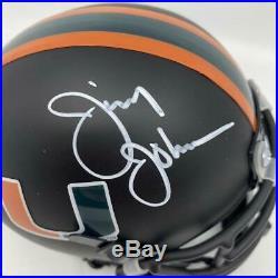 Jimmy Johnson Signed Miami Hurricanes Black Mini-Helmet