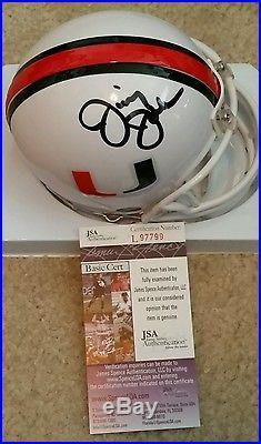 Jimmy Johnson signed Miami Hurricanes riddell mini helmet JSA authenticated