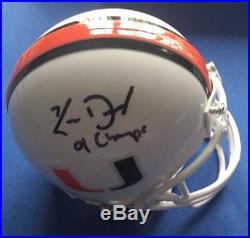 Ken Dorsey'01 Champs, Signed Autographed Mini Helmet Miami Hurricanes QB