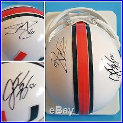 Lamar Miller Jon Beason Signed Autographed Miami Hurricanes Football Mini Helmet