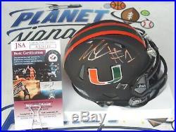 Lorenzo Lingard signed Miami Hurricanes UM Canes black mini helmet JSA COA
