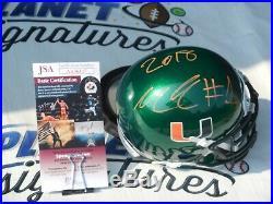 Lorenzo Lingard signed Miami Hurricanes UM Canes green mini helmet JSA COA