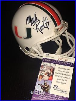 MARK RICHT Coach Hand Signed Miami Hurricanes Mini Helmet JSA CERT