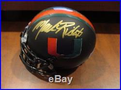 Mark Richt Miami Hurricanes Head Coach Signed Custom Mini Helmet Alg Holo Coa