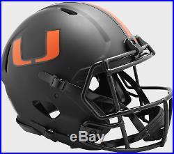 MIAMI HURRICANES NCAA Riddell SPEED Authentic Football Helmet BLACK ECLIPSE