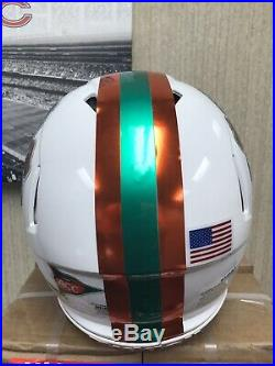 MIAMI HURRICANES Riddell Speed Full Size Custom Chrome Football Helmet