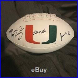 Manny Diaz Jaren Williams Signed Miami Hurricanes Logo Football Ball The U