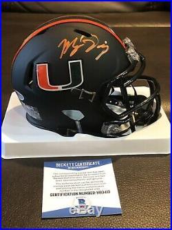 Manny Diaz Miami Hurricanes Signed Matte Black Mini Helmet Beckett Bas Coa Auto