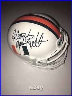 Mark Richt Signed Auto Miami Hurricanes Mini Helmet Go Canes