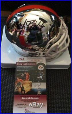 Mark Richt Signed Miami Hurricanes Chrome Mini Helmet Jsa Coa Aa19330