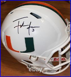 Miami Frank Gore Signed Riddell White Full Size Speed Replica Schwartz COA