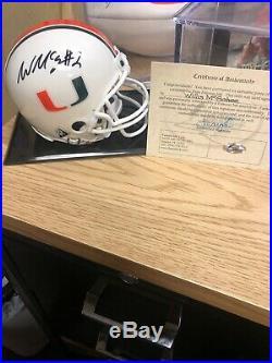 Miami Hurricane Autographed Willis Mcgahee Mini Helmet With COA And Display Case