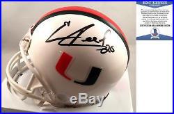 Miami Hurricanes Ed Reed Signed Mini Helmet Beckett BAS