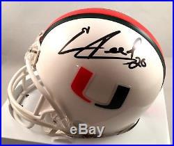 Miami Hurricanes Ed Reed Signed Mini Helmet COA