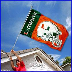 Miami Hurricanes Football Helmet Flag 3x5 Large Banner