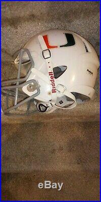 Miami Hurricanes Game Used Riddell Football Helmet