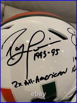 Miami Hurricanes Game Worn Lid, 3 Autographs, Jim Kelly, Ray Lewis And M. Irvin