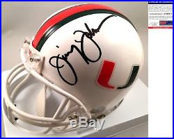 Miami Hurricanes Jimmy Johnson Signed Mini Helmet 2 PSA/DNA COA