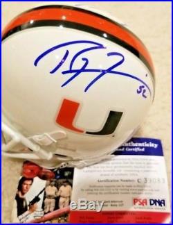 Miami Hurricanes Mini Helmet Signed Auto Ray Lewis & Ed Reed Ravens PSA/DNA