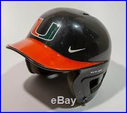 Miami Hurricanes Nike Game Used Batting Helmet 2015 Cws #17
