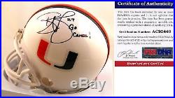 Miami Hurricanes Reggie Wayne Signed Mini Helmet PSA/DNA Authenticated