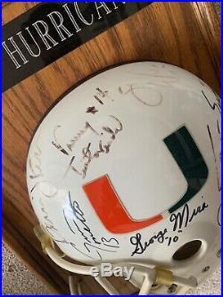 Miami Hurricanes Signed Quarterback U Helmet Plaque The U