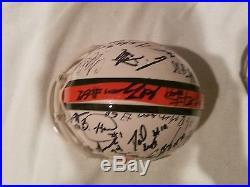 Miami Hurricanes Team Signed Football (HESTER) & Riddell Mini Helmets 04-05 & 08