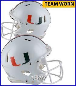 Miami Hurricanes Team-Worn White Speed Single Helmet 2013 & 2017 Seasons L
