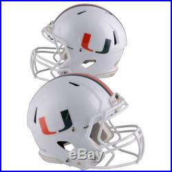 Miami Hurricanes Team-Worn White Speed Three Bar Helmet 2013 and 2017 Seasons