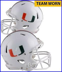 Miami Hurricanes Team-Worn White Speed Three Helmet 2013 & 2017 Seasons XL