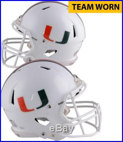 Miami Hurricanes Team-Worn White/Speed/Three Helmet Worn Between 2013-17 Seasons