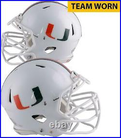 Miami Hurricanes Team-Worn White/Speed/U/Long Helmet 2013-17 Seasons