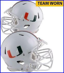 Miami Hurricanes Team-Worn White Speed U Long Helmet 2013 & 2017 Seasons L