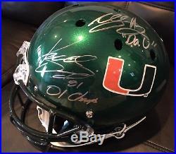 Miami Hurricanes Willis Mcgahee Kellen Winslow Autographed Helmet Full Size COA